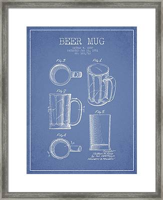 Beer Mug Patent Drawing From 1951 - Light Blue Framed Print by Aged Pixel