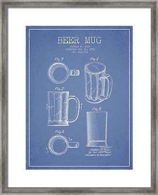 Beer Mug Patent Drawing From 1951 - Light Blue Framed Print