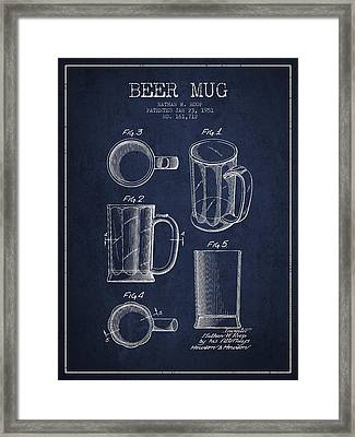 Beer Mug Patent Drawing From 1951 - Navy Blue Framed Print by Aged Pixel