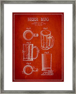 Beer Mug Patent Drawing From 1951 - Red Framed Print by Aged Pixel