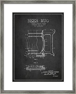 Beer Mug Patent Drawing From 1972 - Dark Framed Print by Aged Pixel