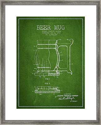 Beer Mug Patent Drawing From 1972 - Green Framed Print by Aged Pixel