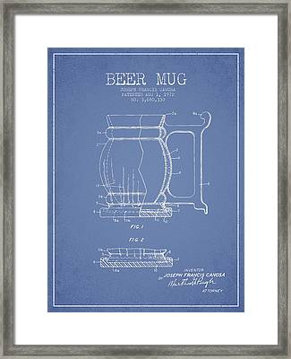 Beer Mug Patent Drawing From 1972 - Light Blue Framed Print by Aged Pixel