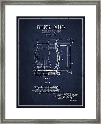 Beer Mug Patent Drawing From 1972 - Navy Blue Framed Print by Aged Pixel