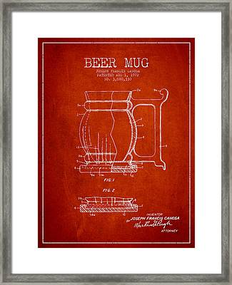 Beer Mug Patent Drawing From 1972 - Red Framed Print by Aged Pixel