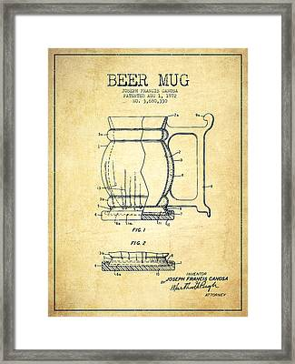 Beer Mug Patent Drawing From 1972 - Vintage Framed Print by Aged Pixel