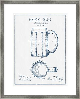 Beer Mug Patent From 1876 -  Blue Ink Framed Print