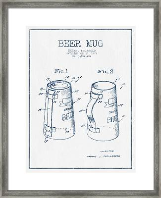 Beer Mug Patent From 1972  -  Blue Ink Framed Print by Aged Pixel