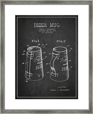 Beer Mug Patent From 1972 - Dark Framed Print by Aged Pixel