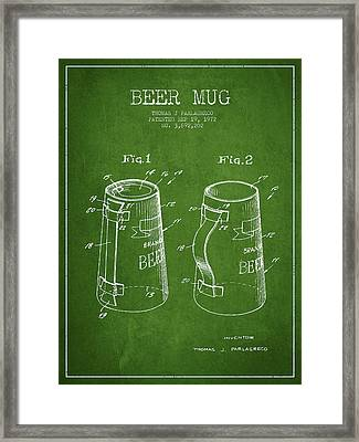 Beer Mug Patent From 1972 - Green Framed Print by Aged Pixel