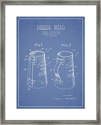 Beer Mug Patent From 1972 - Light Blue Framed Print by Aged Pixel