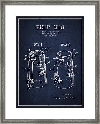 Beer Mug Patent From 1972 - Navy Blue Framed Print by Aged Pixel