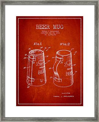 Beer Mug Patent From 1972 - Red Framed Print by Aged Pixel