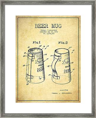Beer Mug Patent From 1972 - Vintage Framed Print by Aged Pixel