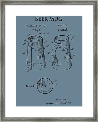 Beer Mug Patent On Blue Framed Print