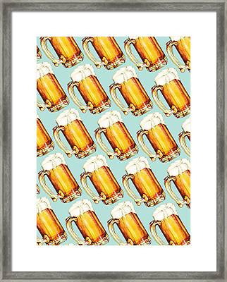 Beer Pattern Framed Print by Kelly Gilleran