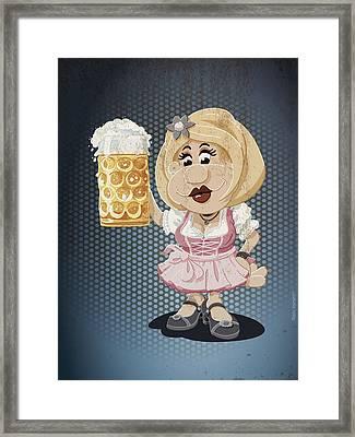 Beer Stein Dirndl Oktoberfest Cartoon Woman Grunge Color Framed Print by Frank Ramspott