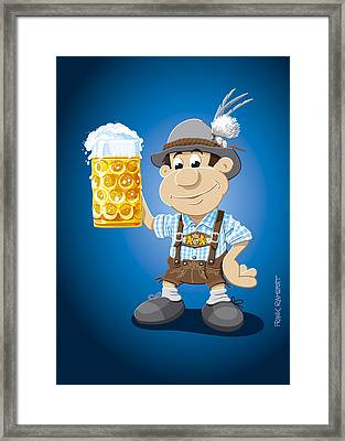 Beer Stein Lederhosen Oktoberfest Cartoon Man Framed Print by Frank Ramspott