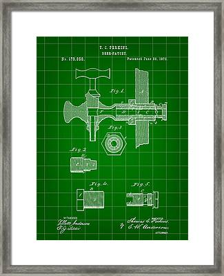 Beer Tap Patent 1876 - Green Framed Print by Stephen Younts