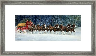 Clydesdales 8 Hitch On A Snowy Day Framed Print by Don  Langeneckert