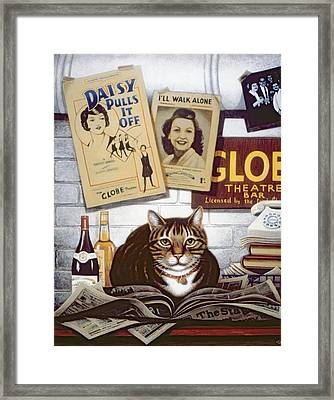 Beerbohm, The Theatre Cat Oil & Tempera On Panel Framed Print by Frances Broomfield