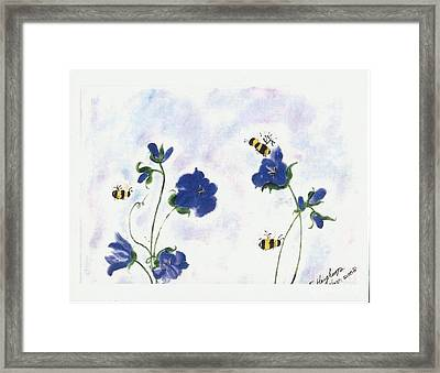 Bees At Lunch Time Framed Print by Francine Heykoop
