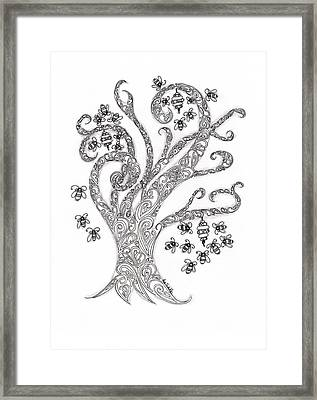 Bees In The Tree Framed Print by Paula Dickerhoff