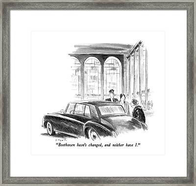 Beethoven Hasn't Changed Framed Print by Charles Saxon