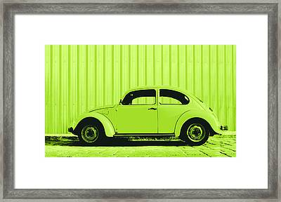 Beetle Pop Lime Framed Print by Laura Fasulo