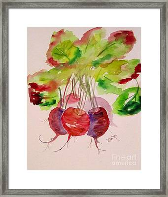 Beets And Green Tops Framed Print by Delilah  Smith