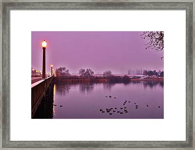 Framed Print featuring the photograph Before Sunrise On The Bridge by Lynn Hopwood