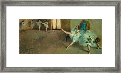Before The Ballet Framed Print by Edgar Degas