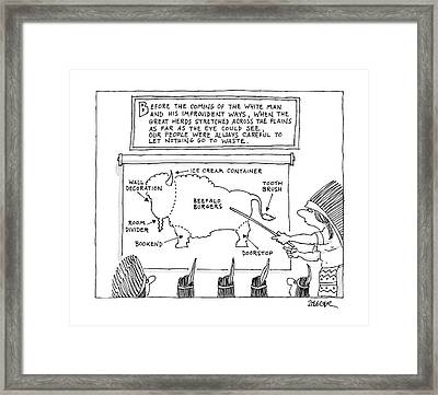 Before The Coming Of The White Man Framed Print by Jack Ziegler
