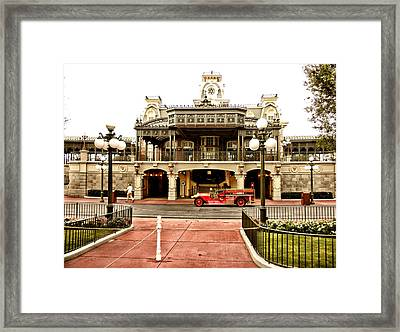 Before The Gates Open The Magic Kingdom Train Station Framed Print by Thomas Woolworth