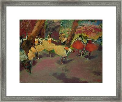 Before The Performance Framed Print by Edgar Degas