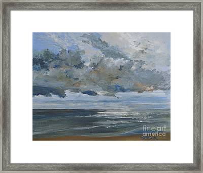 Before The Storm On Neptune Beach Framed Print by Barbara Moak