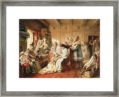 Before The Wedding, 1890 Oil On Canvas Framed Print by Konstantin Egorovich Makovsky