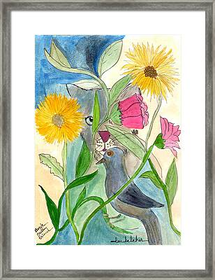 Framed Print featuring the painting Befriend All Beings - Human Or Otherwise by Lou Belcher