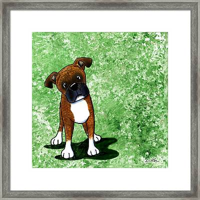 Befuddled Brindle Boxer Framed Print by Kim Niles