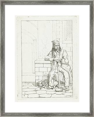 Beggar With Dog, Karel Frederik Bombled Framed Print by Karel Frederik Bombled