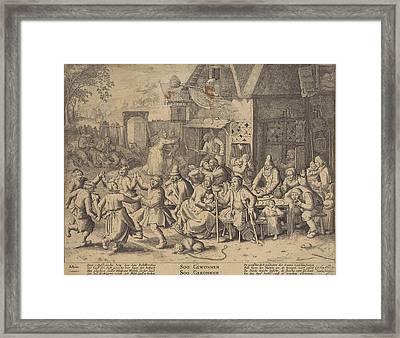 Beggars, Print Maker Pieter Serwouters, David Vinckboons Framed Print