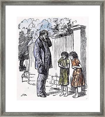 Begging Children 1873 Incomplete Education Shivering Man Framed Print by English School