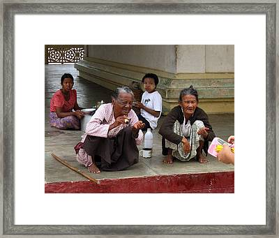 Begging For Money In The Shwezigon Pagoda Framed Print by RicardMN Photography
