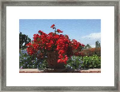 Begonias On The Patio Framed Print by Mary Machare