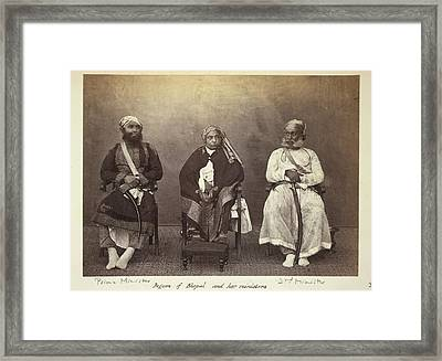 Begum Of Bhopal And Her Ministers Framed Print by British Library