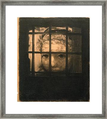 Behind Bars Framed Print by Odilon Redon