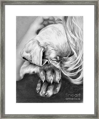 Behind Closed Paws Framed Print by Sheona Hamilton-Grant