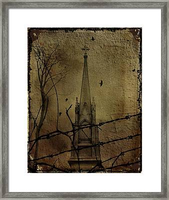 Behind The Barbed Wire Framed Print by Gothicrow Images