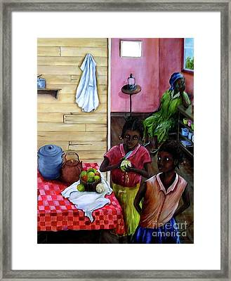 Framed Print featuring the painting Behind The Blue Door by Anna-maria Dickinson