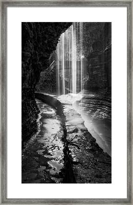 Behind The Falls Black And White Framed Print by Bill Wakeley